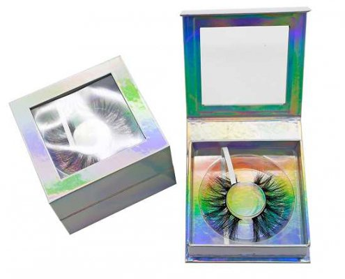 Holographic square eyelash boxes