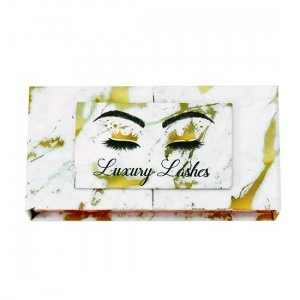 gold marble open door lashes packagings
