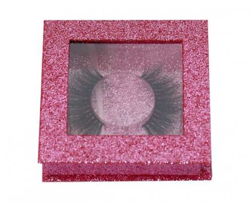 pink glitter square lash packagings